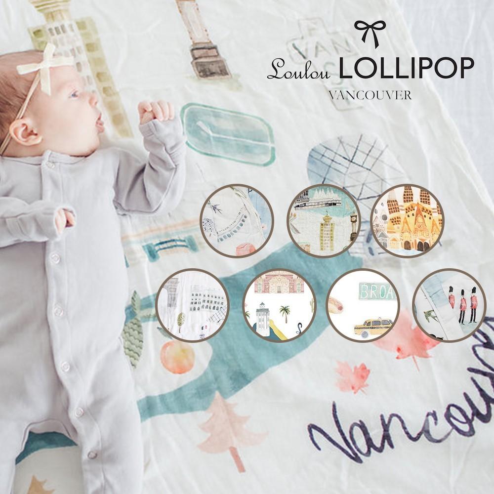 loulou lollipop 加拿大 竹纖維透氣包巾(城市款)120x120cm-多款可選