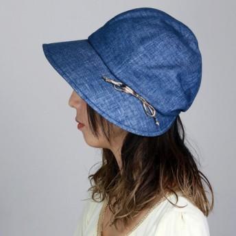 ダックス UV加工 レディース キャスケット DAKS クロッシェ UVカット 帽子 デラベ シャンブレー ツイル キャスクロッシェ 日本製 ハット 春夏 ネイビー 紺