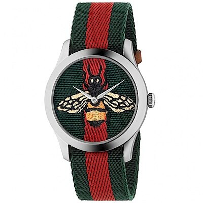 Gucci 古吉 YA1264060 G-Timeless 蜜蜂刺繡手錶/38mm