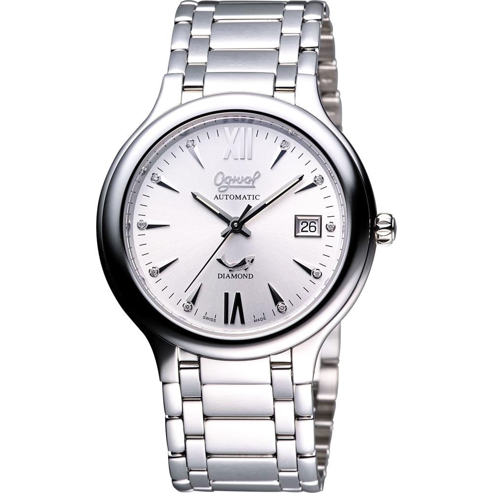 Ogival 愛其華 簡約時尚真鑽機械腕錶-銀/40mm 3832AJMS