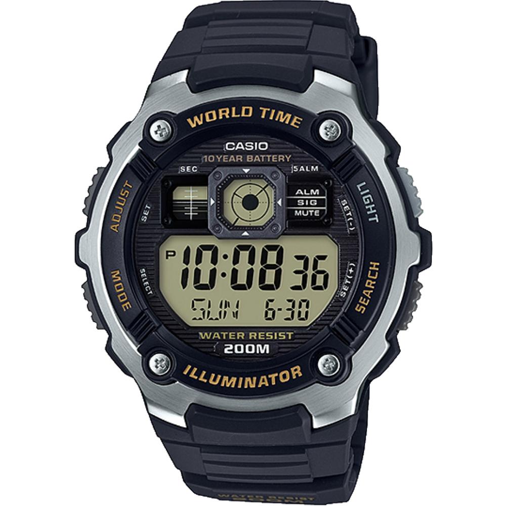 CASIO 卡西歐 飛機駕駛艙儀表造型數位錶-液晶灰黃(AE-2000W-9A)