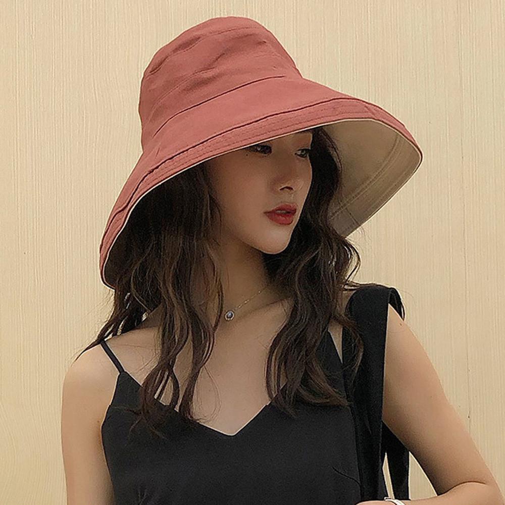 kissdiamond大帽檐可摺疊收納素色雙面遮陽帽(kd-0867)