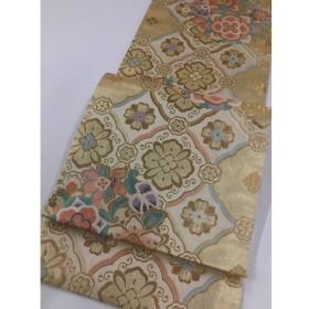 着物 美品 名品 袋帯 金色 草花 幾何学 金糸 箔 六通 正絹  リサイクル バイセル