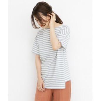 KBF(ケービーエフ) トップス Tシャツ・カットソー アシメボーダーTシャツ