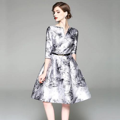 Olivia奧莉精品 北歐水墨印花收腰傘裙擺洋裝 M~3XL 洋裝 連身裙 禮服 伴娘服 媽媽裝