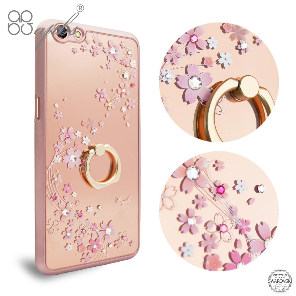Apbs OPPO R9s Plus 施華彩鑽鏡面指環扣手機殼 天籟之櫻