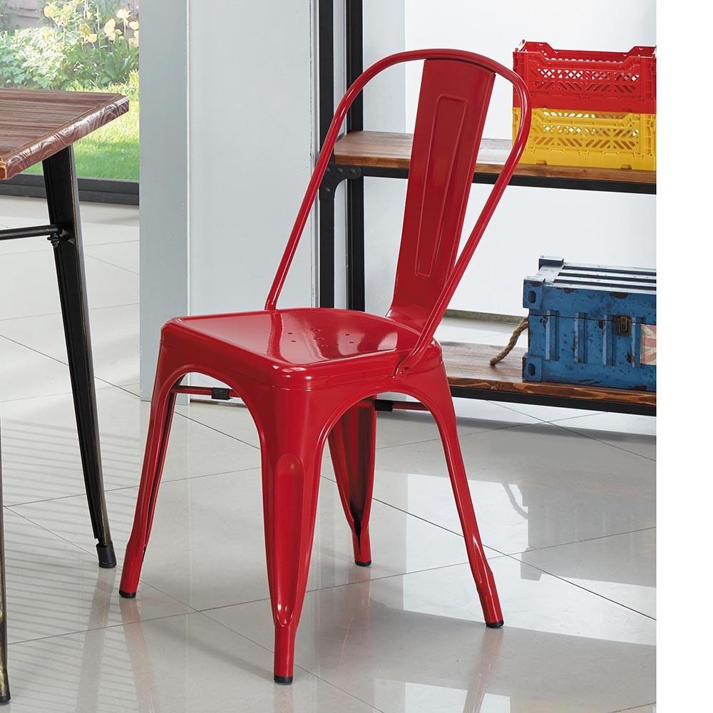 obis紅鐵工業風餐椅