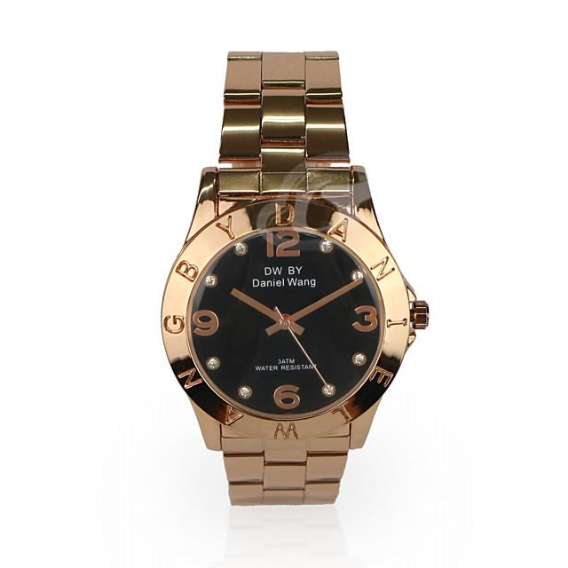 daniel wang三眼數字鑲鑽腕錶-玫帶黑面