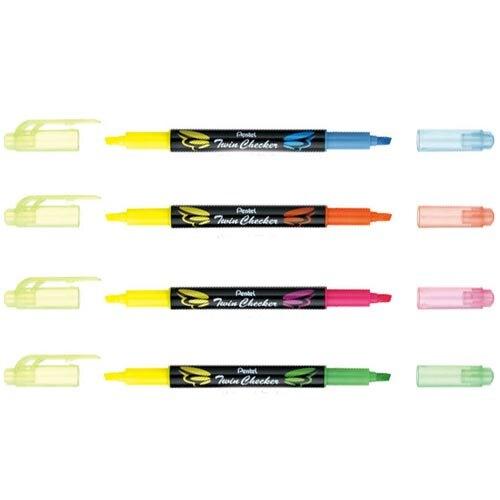 【史代新文具】飛龍牌Pentel Twin Checker SLW8 雙色/雙頭螢光筆(3.5mm)