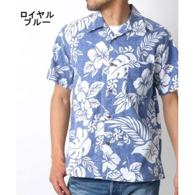 【26%OFF】 マルカワ 綿 アロハシャツ 総柄 プリント オープンカラー メンズ ロイヤルブルー L 【MARUKAWA】 【タイムセール開催中】