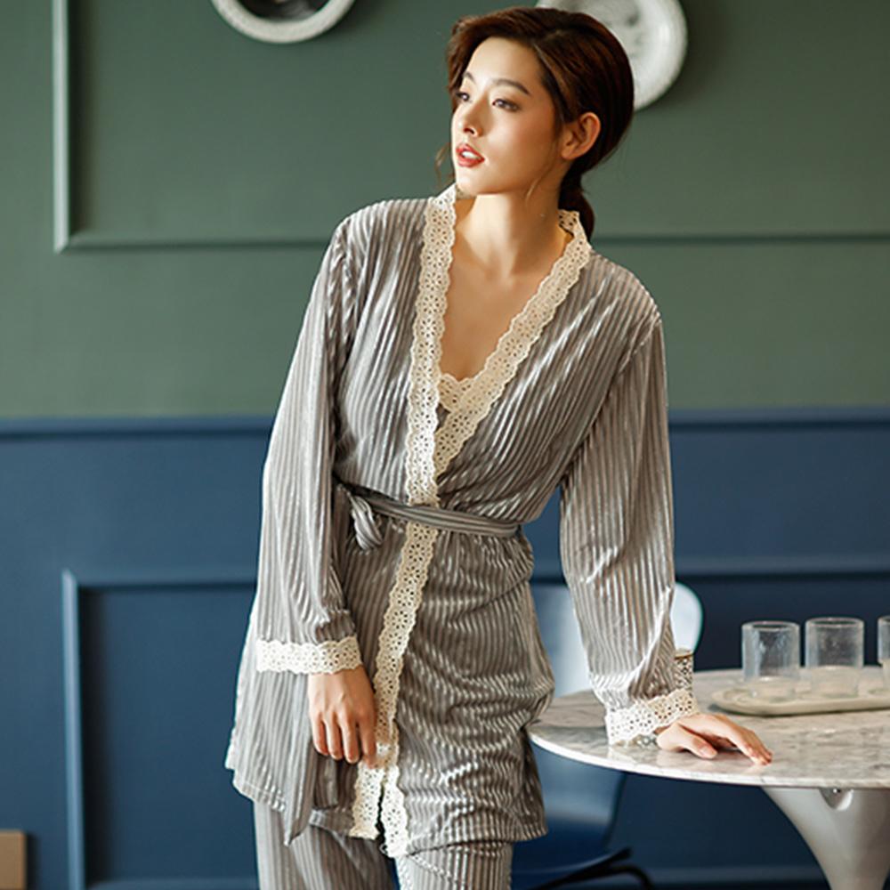 Wonderland 優雅誘惑壓皺金絲絨3件式衣褲組(灰色)