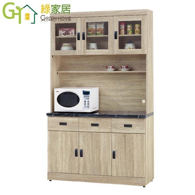 綠家居比亞特 時尚4尺黑雲紋石面餐櫃/收納櫃組合(上下座)