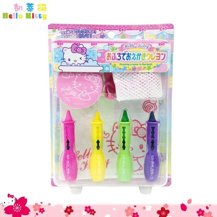 凱蒂貓 Hello Kitty繪畫組 洗澡畫畫筆 水蠟筆 遊戲筆 畫筆 畫畫 附收納袋 日本進口正版 138654