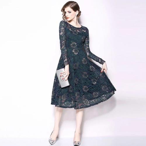Olivia奧莉精品 典雅仕女蕾絲收腰傘擺洋裝 M~3XL 蕾絲 洋裝 連身裙 禮服 伴娘服 媽媽裝