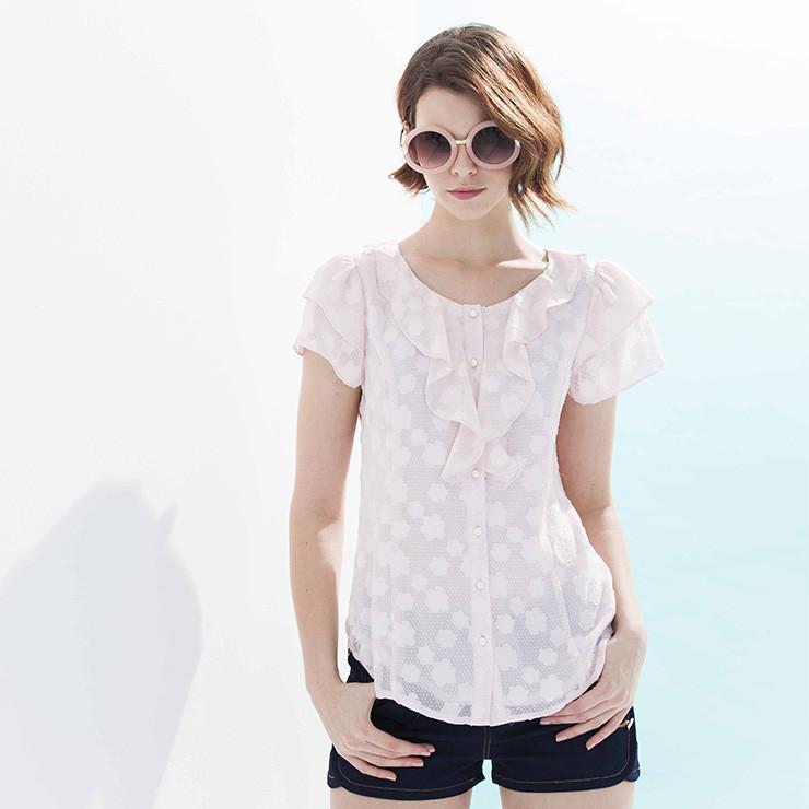 輕熟女 中尺碼荷葉領 珍珠扣 波浪袖 雪紡短袖襯衫(藍色 /白色)