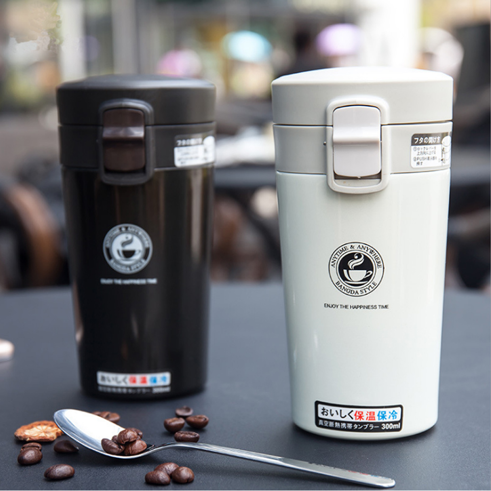 PUSH! 專業型保溫咖啡杯不銹鋼真空保溫瓶保溫杯水壺370ml E101白
