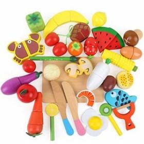 LBLA 木製 おままごと 35点セット マグネット 切る遊び 食材フルセット 木のおもちゃ キッチン サクッと切れる ごっこ遊び 磁