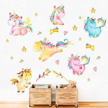 ウォールステッカー ユニコーン decalmile Unicorn Wall Decals Kids Room Wall Decor Childrens Nursery Baby Room Wall Stickers