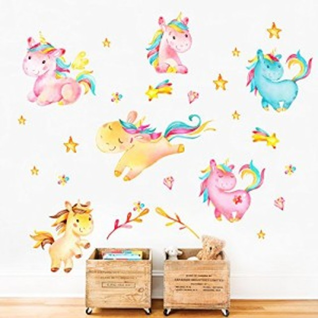 ウォールステッカー ユニコーン decalmile Unicorn Wall Decals Kids Room Wall Decor Childrens Nursery Baby Room Wall Stickers