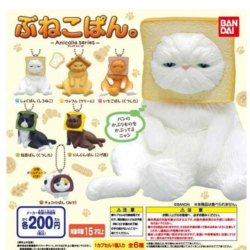 單售 B+F款 【日本正版】趣味頭套貓 麵包篇 貓咪 扭蛋 擺飾 吊飾 萬代 BANDAI
