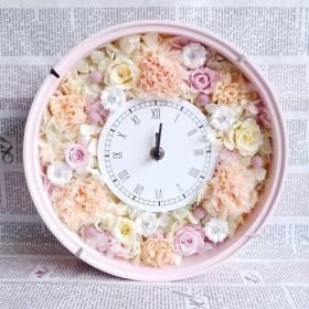 無料ラッピング付*カーネーション×バラのお花畑(ピンク台)*ピンク花時計*プリザーブドフラワー