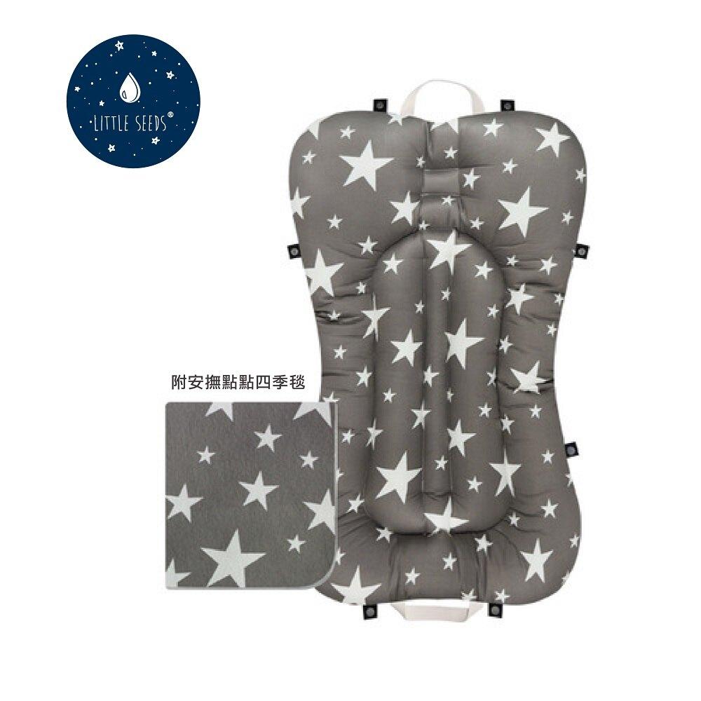 【贈四季毯+收納袋】韓國【Little Seeds】嬰兒輕量口袋床墊-灰星星