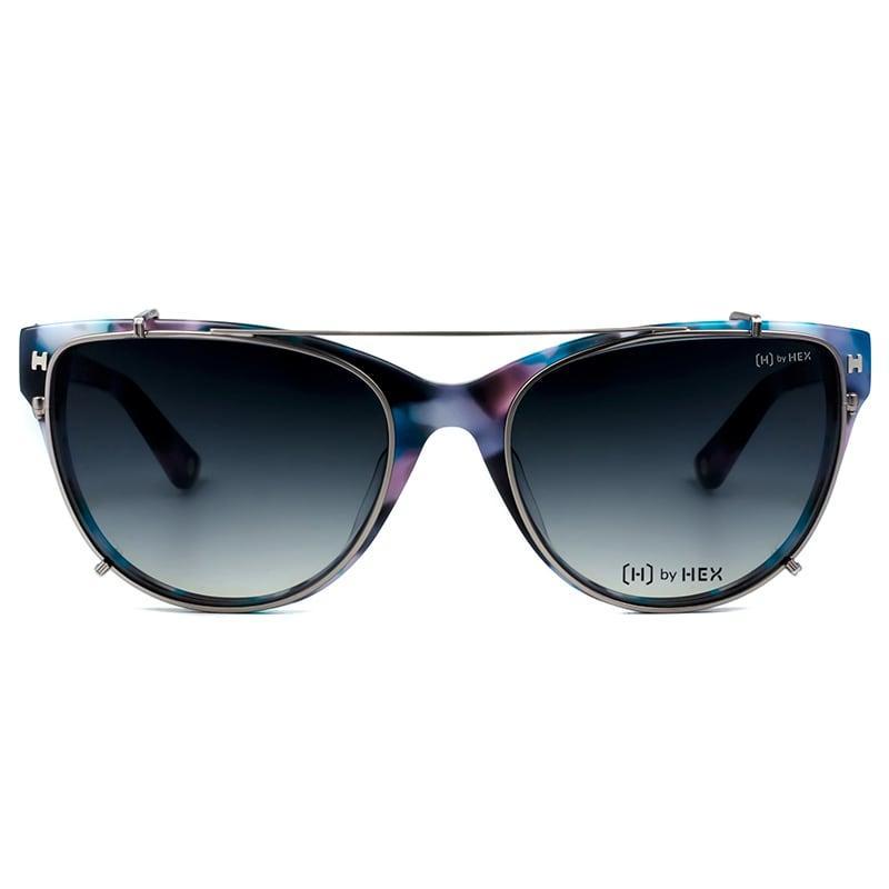 空服員 - Ellen C.│光學配前掛墨鏡│太陽眼鏡│義大利設計 - 紫藍啡花