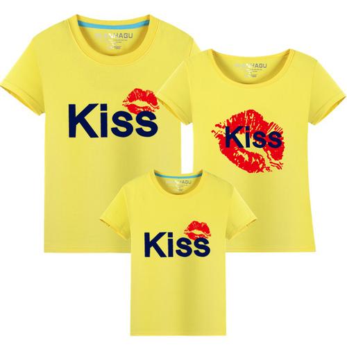 ★韓版MH-S1625《KISS紅唇》短袖親子裝♥情侶裝@四件組♥多色可選♥