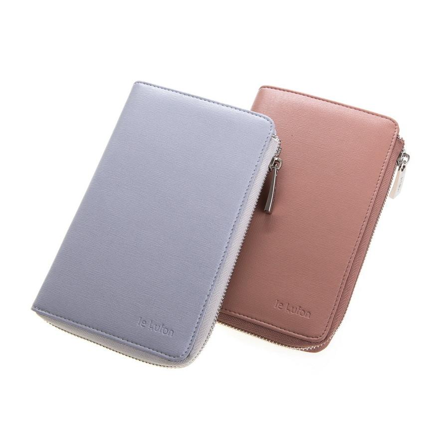 le lufon 十字紋皮革l型拉鏈護照夾/證件夾/萬用夾/零錢包