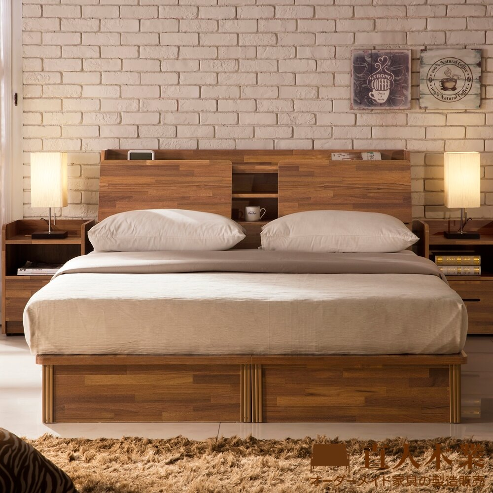 直人木業  INDUSTRY積層木5尺雙人抽屜床組  床底有2個收納抽屜
