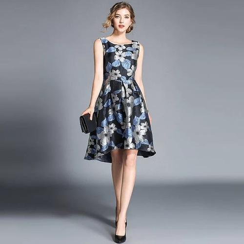 Olivia奧莉精品 鍛面質感大印花無袖洋裝 S~2XL 洋裝 連身裙 禮服 伴娘服 媽媽裝