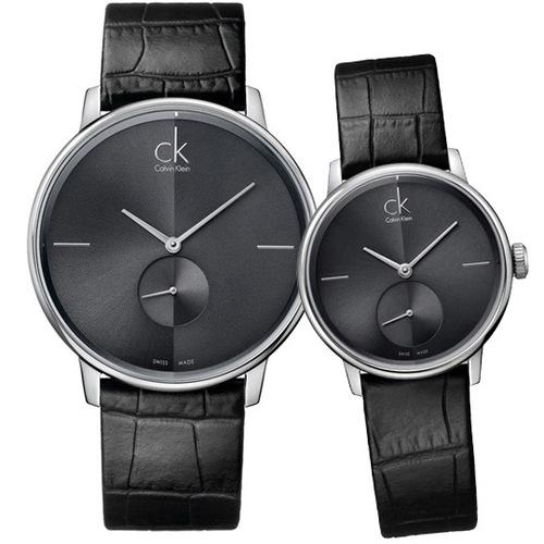 Calvin Klein Accent 都會小秒針品味皮帶情人對錶-黑灰