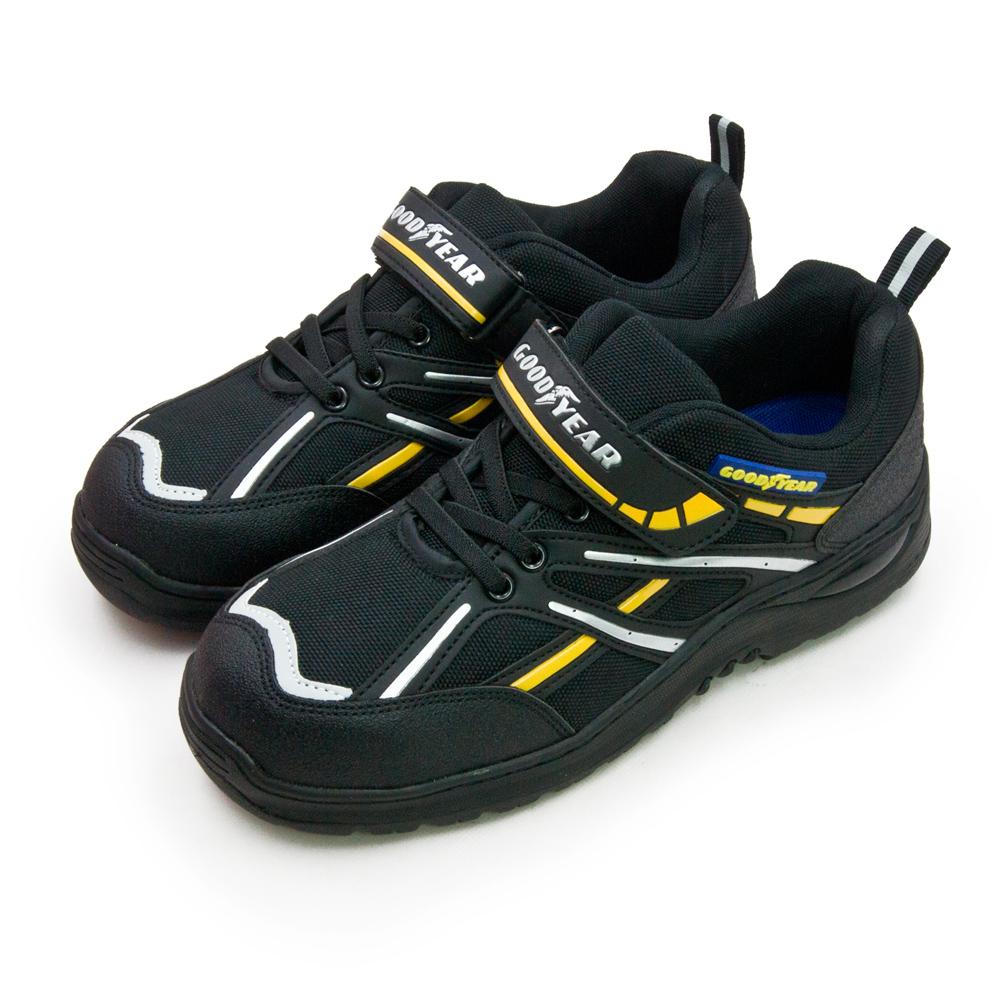 【男】GOODYEAR 固特異 透氣鋼頭防護認證安全工作鞋 驚天盾S系列 黑銀黃 83970