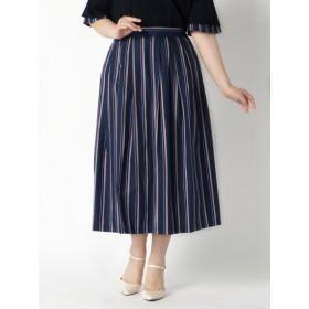【大きいサイズレディース】ストライプスカート スカート フレアスカート