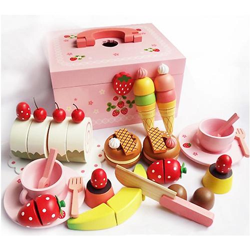 草莓甜心派對木製玩具組-附收納箱