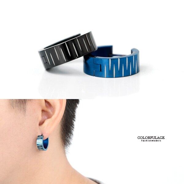 耳環 鋼製交錯刻紋寬版耳針【ND614】抗過敏.氧化
