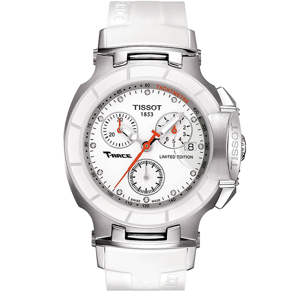 TISSOT天梭 T-RACE LADY 計時陶瓷真鑽腕錶-白/36mm T0482172701600