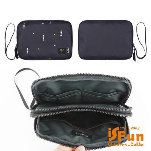 【iSFun】三角點點*鋪棉化妝護照證件手拿包/3色可選