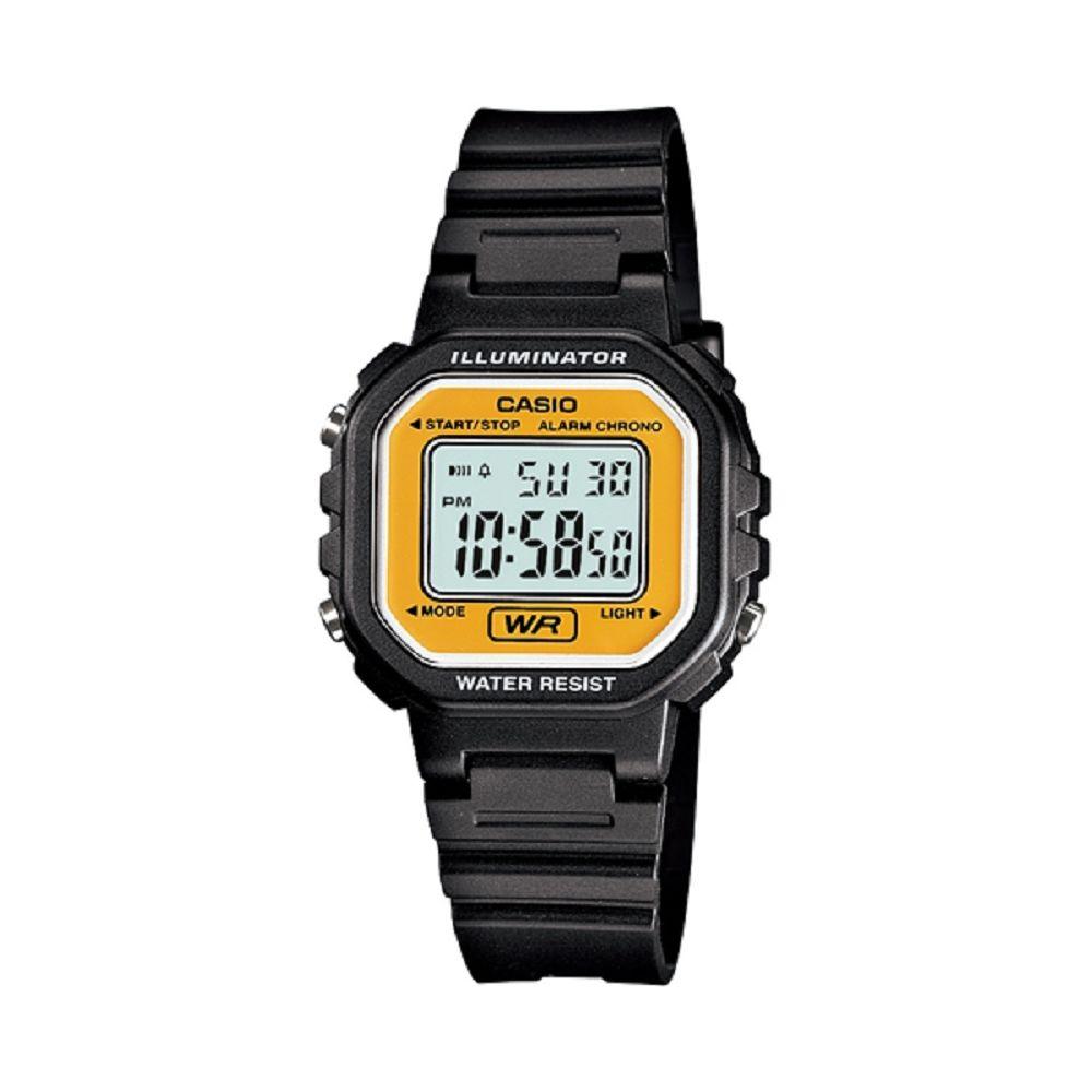 【CASIO卡西歐】方形復古風運動休閒數位電子錶- 黃框( LA-20WH-9A )