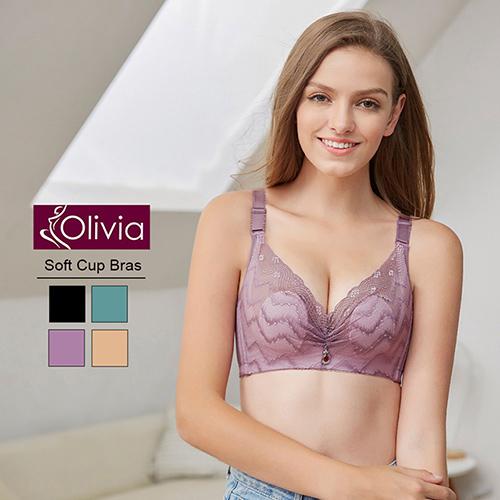 Olivia 無鋼圈柔軟裸紗超薄不露點蕾絲內衣(紫色)