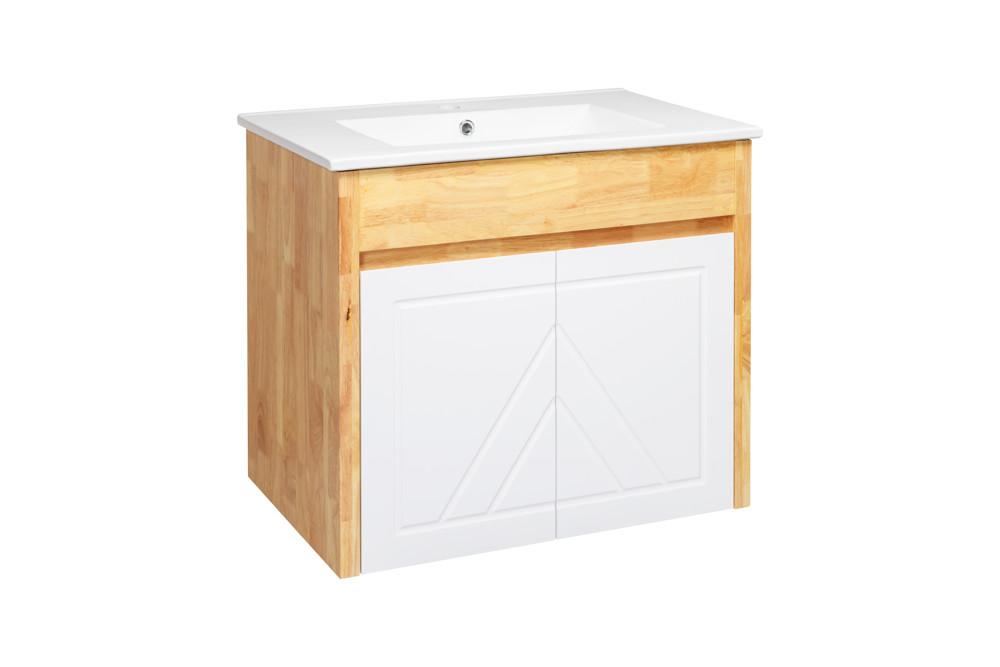 水龍頭+木紋浴櫃面盆組 寬71cm 深47cm 高62cm 鄉村風格 橡木實木