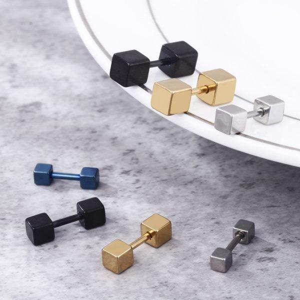 簡約方形幾何白鋼耳環 單個價-ecs099