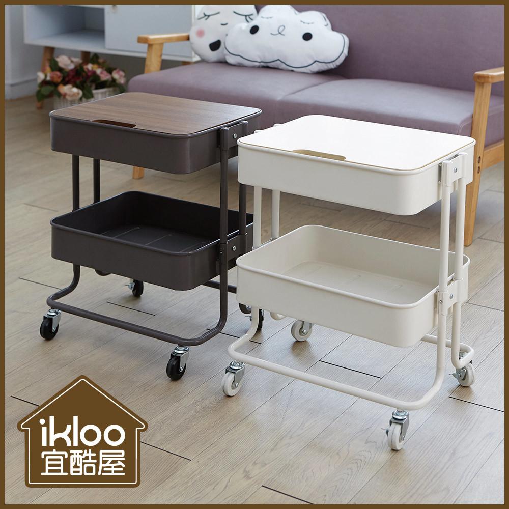 ikloo工業風上木板雙層收納置物籃/推車