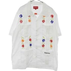 SUPREME(シュプリーム)19SS Flowers Guayabera S/S Shirt フラワー グァジャベーラ 半袖開襟シャツ ホワイト
