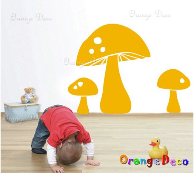 香菇 DIY組合壁貼 牆貼 壁紙 無痕壁貼 室內設計 裝潢 裝飾佈置【橘果設計】
