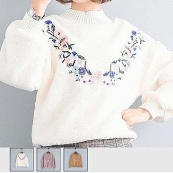 ニットソー レディース プルオーバー 花柄 セーター 長袖 起毛 トップス 即納送料無料