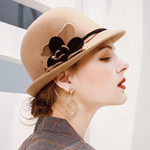 【米蘭精品】羊毛呢帽禮帽-優雅氣質圓頂花朵女帽子2色73tk28