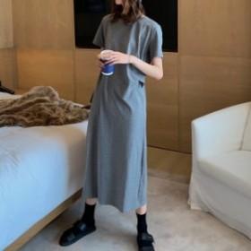 ワンピース レディース デイリー 半袖 無地 綿95 ワンピース マキシ ロング 大きいサイズ 大人カジュアル 40代 ファッション 50代