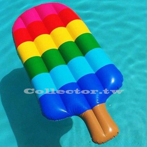 復古彩虹冰棒浮床泳圈-150公分 漂浮板 充氣浮圈救生圈加大加厚泳圈