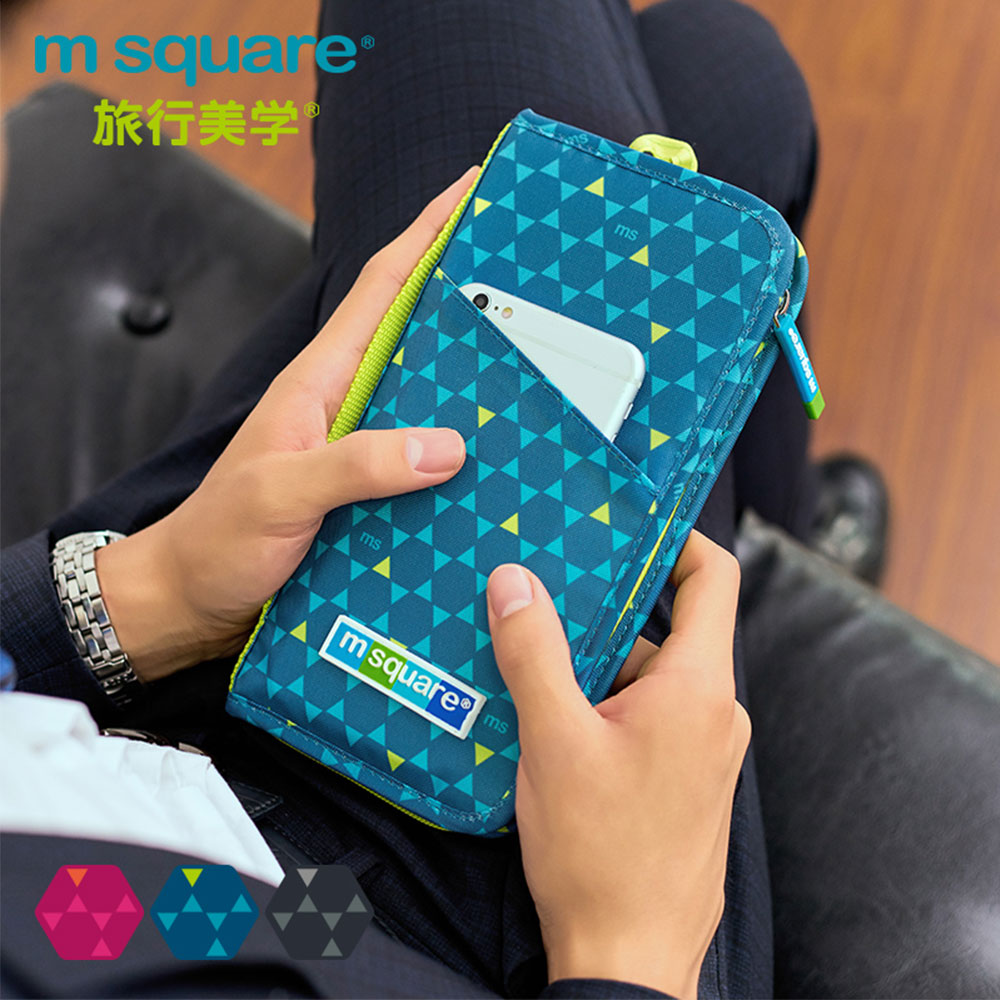 m square商旅系列Ⅱ護照夾-藍色六角紋